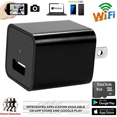 Hidden Camera - 1080p HD - WiFi Remote View - Motion Detection - -Alarm Message (Support 128G Micro SD Card) ,8GB Included , USB Spy Camera - Home Security ,Wireless  Nanny Cam by Fifi Spectrum