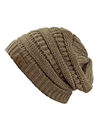 Trendy Warm Chunky Soft Stretch Cable Knit Beanie Skully, Taupe