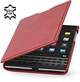 StilGut Book Type, Estuche de cuero genuino para BlackBerry Passport, Rojo