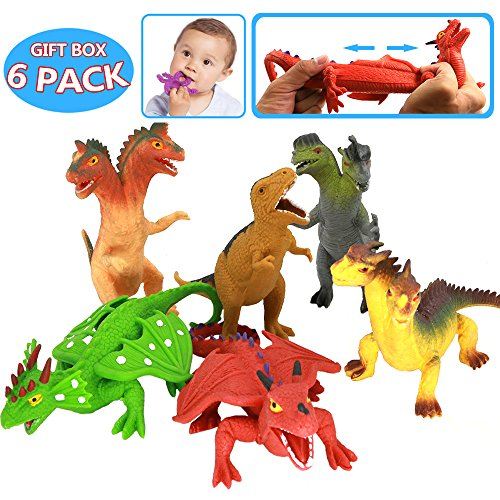 ValeforToy 8 Inch Rubber Dinosaur Dragons Toys Set(6 Piece),Great Safety Materials TPR Super Stretchy,with Learning Study Card, Realistic Dinosaur Dragon Figure, for Boys Kids Bathtub Squishy Toys ()