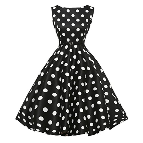 Clearance!Women Summer Dress,Todaies Women Vintage Bodycon Sleeveless Dress Casual Retro Evening Party Prom Swing Dress 2018 (2XL, Black 2)