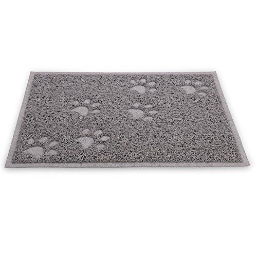 Quality Gray Cat Litter Trap Mat, Non-Slip Backing, Dirt