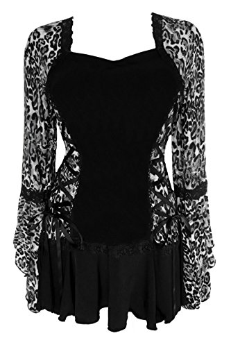 Dare To Wear Victorian Gothic Boho Women's Plus Size Bolero Corset Top Silver Cheetah 2x