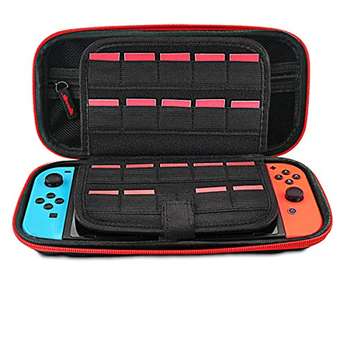 [Large Model] Carrying Case for Nintendo Switch,Leyeet 20 Game Cartridge Protective Hard Portable Travel Carry Case Fits AC Adapter Shell Pouch for Nintendo Switch Console & Accessory (Red Zipper)