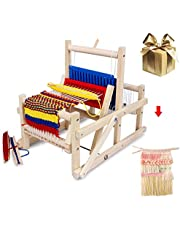 Weaving Loom - Multi-Craft Wooden Weaving Loom with Mixed Yarns, Adjusting Rod, Comb, Shuttle and Nylon Cord - Lap Weaving Loom for Beginners and Amateurs
