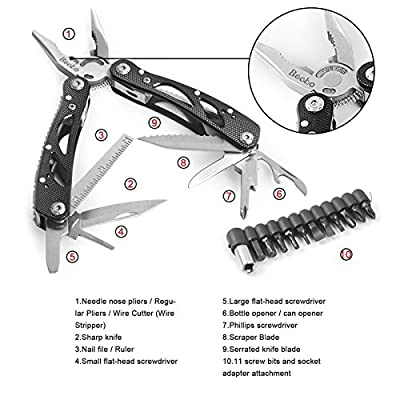 Becko's Black 24-in-1 Multitool Pliers / Multifunctional Portable Electrical Tool / Folding Pocket Size Non-slip Pincers