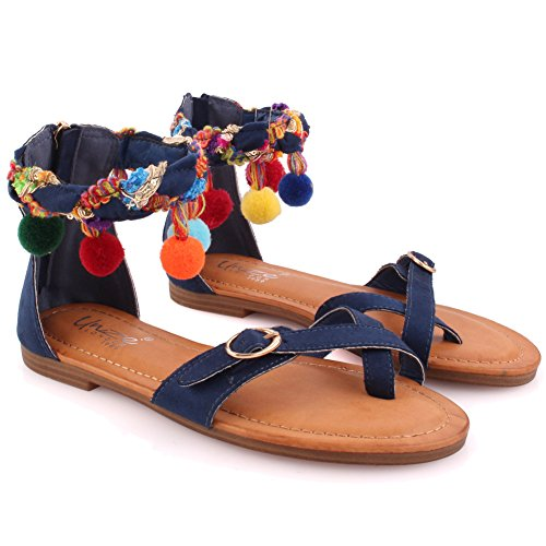 Unze Women Nudistrong Toe Loop Carnival Buckle Detail Soiree Pom Pom Casual Designed Ankle Strap Ladies Back Zip Sandals UK Size 3-8 - F606-22 Blau