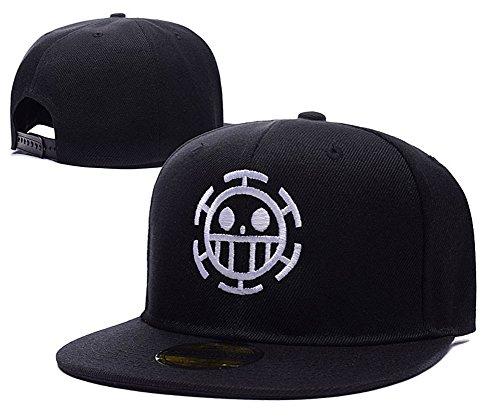 Anime One Piece Trafalgar Law Logo Adjustable Snapback Caps Embroidery Hats – Black/White