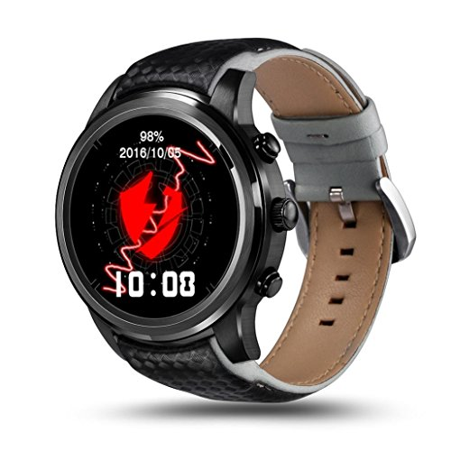 """Price comparison product image Boofab LEMFO LEM5 Smart Watch, 1.39"""" IPS OLED Round Display Android 5.1 MTK6580 Quad Core 1GB + 8GB RAM 3G WIFI GPS Heart Rate Monitor Cell Phone Smartwatch for Anrioid iOS (Black)"""