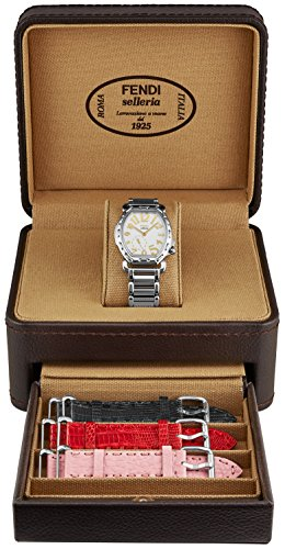 Fendi Selleria Tonneau Fashion Womens Watch Set - White Face with Second Hand Swiss Dress Watch For Women - Stainless Steel Bracelet with 3 Interchangeable Leather Bands - Analog Quartz Ladies Watch (Tonneau White Bracelet)