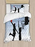 Boy's Room Duvet Cover Set Twin Size by Lunarable, Basketball in the Street Theme Two Players on Grungy Damaged Backdrop, Decorative 2 Piece Bedding Set with 1 Pillow Sham, Pale Blue Grey Black