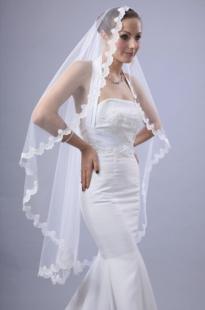 Amazon Bridal Wedding Mantilla Veil White 1 Tier Long Knee Length Scallop Lace Edge Hair Care Products Beauty