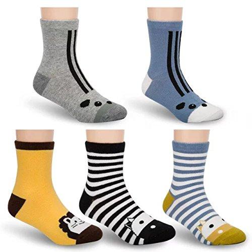 Tycipe Kids boys Fashion Cotton Crew Socks 5 pairs (Animal Boy)