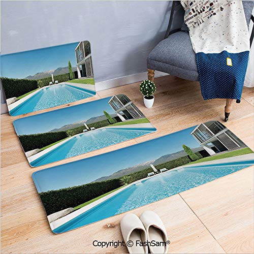 3 Piece Fashion Flannel Door Mat Carpet Modern Villa with Pool View from The Garden Real Estate Contemporary Property for Door Rugs Living Room(W15.7xL23.6 by W19.6xL31.5 by W15.7xL39.4)