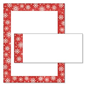 Amazon.com: Snowy Flakes Red Border Christmas Letter Paper and ...
