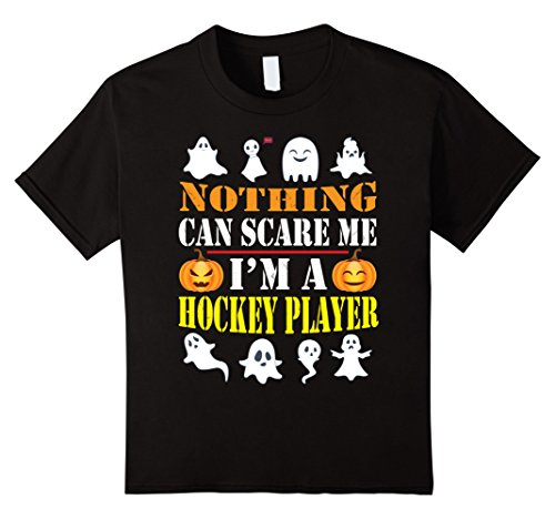 Kids Nothing Can Scare Me I'm A Hockey Player Halloween Shirt 6 Black