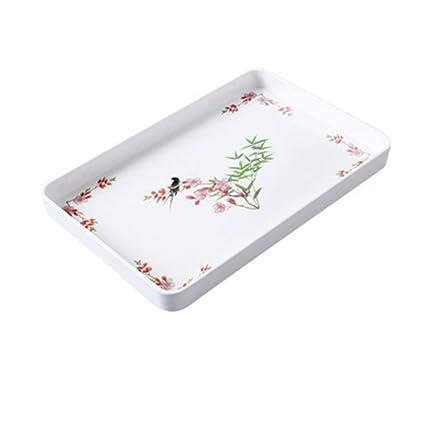 Kaxima Melamina, bandeja rectangular, bandeja de té de taza de agua, plato de