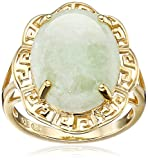 18k Yellow Gold Over Sterling Silver Green Jade Greek Key Ring