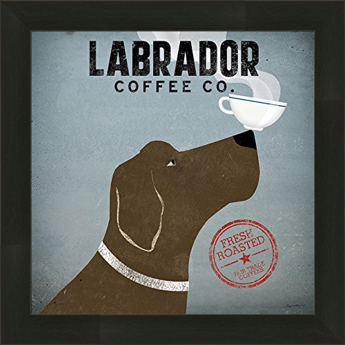 Art Print Chocolate - Labrador Coffee Co by Ryan Fowler 14x14 Chocolate Lab Dog Cup On Nose Advertisement Ad Whimsical Sign Framed Art Print Picture