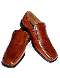 MENS DRESS SHOES LOAFERS COMFORT SLIP ON LEATHER LINED OSTRICH CROCODILE PRINT 18230 / BROWN