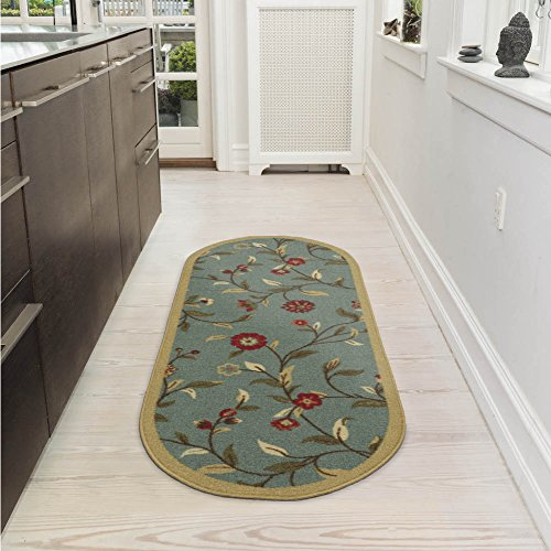 Ottomanson Ottohome Collection Floral Garden Design Non-Skid Rubber Backing Modern Area Rug, 2' X 5' Oval, Seafoam Oval Kitchen Rugs