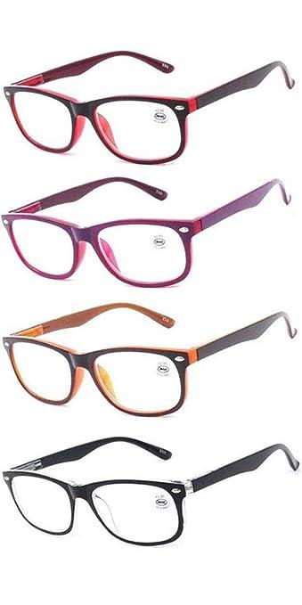 08f5869fd219 AMILLET 4-Pack Stylish Rectangular Reading Glasses for Mens and Womens  Spring Hinge Full Frame