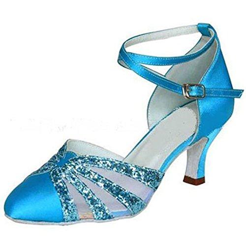YFF Tango Chaussures Danse Danse Blue 40 Femmes Dance Dance Latine Cadeaux 7CM 0qwx076r