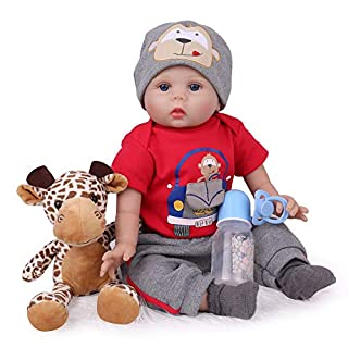 CHAREX Reborn Baby Dolls 22 inch Realistic Baby Boy Doll Lucy Lifelike Weighted with Giraffe Gift Set Accessories