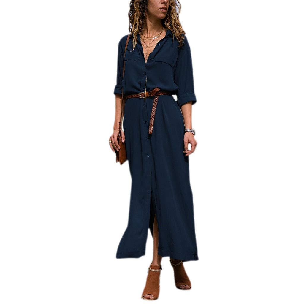 Lamdoo Women Button Down Collar Roll Up Sleeve Casual Long Maxi Shirt Dress Split Solid Blue S