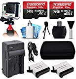 Action Stabilizer Handle Holder Grip + 96GB MicroSD Memory + Card Wallet + Travel Car Charger + AHDBT401 AHDBT-401 Battery (2 Pack) + Premium Travel Case + More for GoPro HERO4 Hero 4 Black Silver