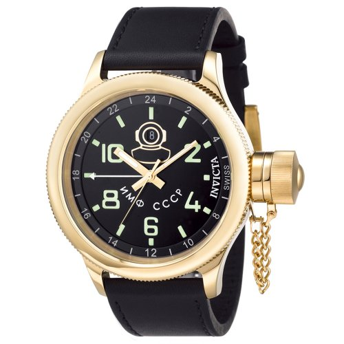Invicta Men's 7109 Signature Collection Russian Diver 18kt Gold-Plated GMT Watch ()