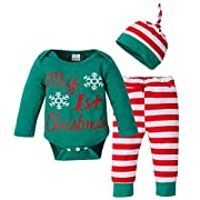 BANGELY Baby Boys Girls My 1st Christmas Snowflake Romper Tops+Striped Pant+Cap 3Pcs Set Size 0-3Months/Tag70 (Green)