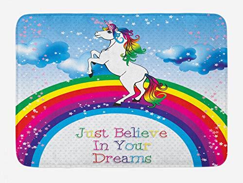 Ambesonne Fantasy Bath Mat, Unicorn Surreal Myth Creature Before Rainbow Clouds Star Fantasy Girls Fairytale, Plush Bathroom Decor Mat with Non Slip Backing, 29.5 W X 17.5 W Inches, Multicolor ()