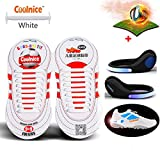 Coolnice No Tie Shoelaces for Kids sports with LED Shoe Clip Lights- Environmentally Safe Waterproof Silicon- White Shoelaces with Blue Lights