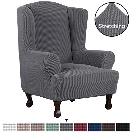 H.VERSAILTEX 1 Piece Super Stretch Stylish Furniture Cover/Wingback Chair Cover Slipcover Spandex Jacquard Checked Pattern, Super Soft Slipcover Machine Washable/Skid Resistance (Wing Chair, Gray) ()