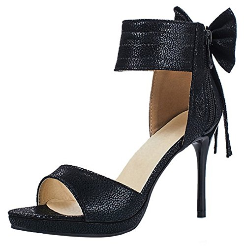 COOLCEPT Mujer Moda Al Tobillo Sandalias Punta Abierta Stiletto Cremallera Zapatos With Bowknot Negro