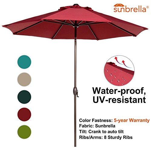 Abba Patio 9 Feet Sunbrella Fabric Patio Umbrella Outdoor Table Umbrella  With Auto Tilt And