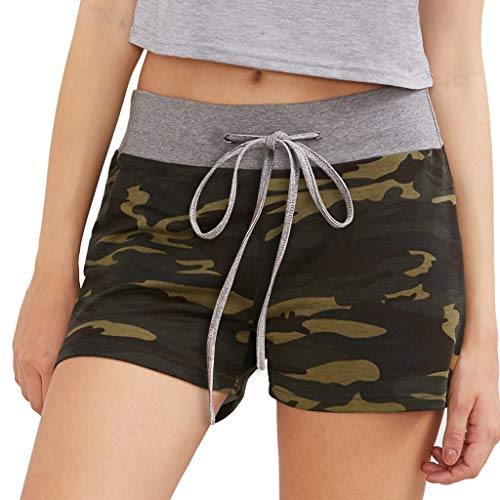 DONTAL Ladies Sexy Design Casual Camouflage Stitching Shorts Sports Shorts Tactical Trousers Green