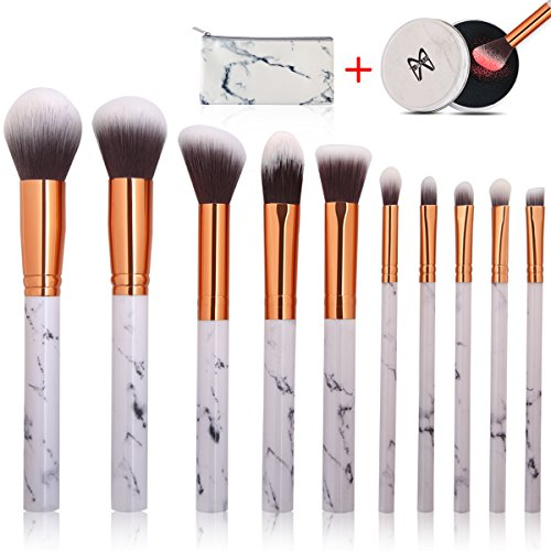 Makeup Brushes 10 Pieces Marble Makeup Brush Set with Makeup Brush Bag and Brushes Color Removal Sponge Professional Face Eyeliner Blush Contour Foundation Cosmetic Brushes for Powder Liquid Cream