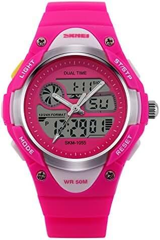 Children Digital 50M Waterproof Alarm Sports Wrist Watch Rose Red