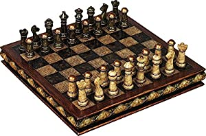 Chess Board Beautiful Marbled Gold Tipped Game Home Lounge Parlor Décor 81756
