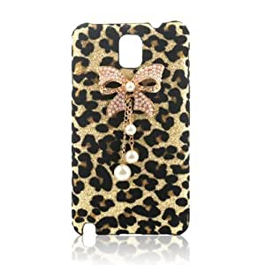 EVTECH(TM) Crocodile Series Luxury Crystal Diamond Bling Design Pink PU Wallet Leather Cover Case for Samsung Galaxy Note 3 SM-N9000 N9002 N9005 (100% Handcrafted) (leopard, Samsung Galaxy Note 3 N9000)