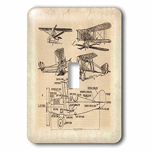 3dRose lsp_62138_1 Early 1900s Sketch Of Airplanes Single Toggle Switch