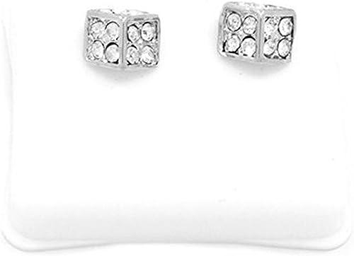 Men/'s LUXURY Pave 10mm Sim Diamonds 18K Yellow Gold Filled Square Stud Earrings