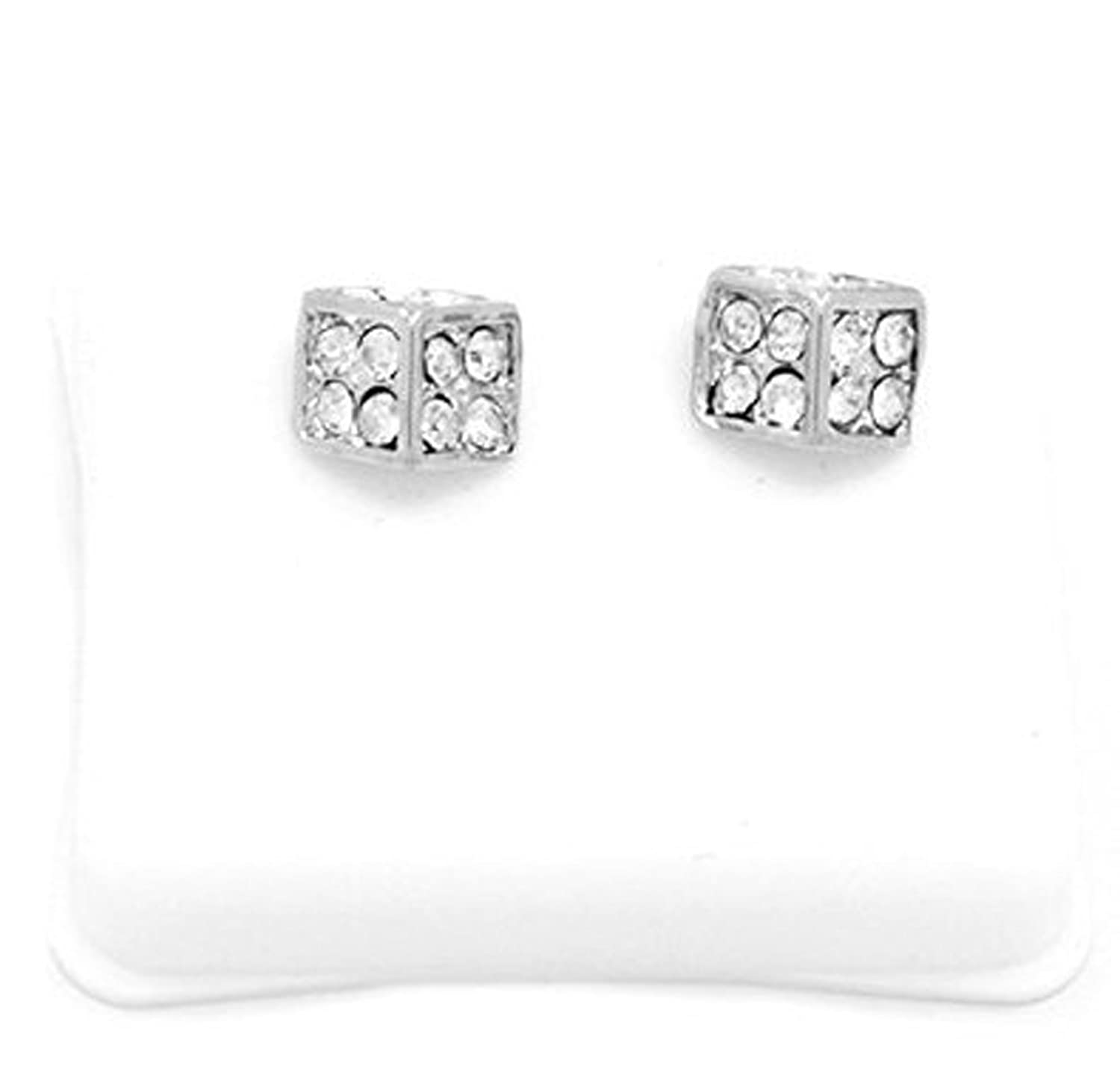 Mens Platinum Tone Cz Micro Pave Iced Out Hip Hop 10mm Dice Stud Earrings Bullet Backs