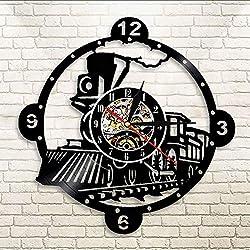 smydp Wall Clocks Steam Locomotive Train Wall Clock Vintage Steam Engine Vinyl Record Clock Train Locomotive Wall Decor Train Enthusiast Gift Without Light