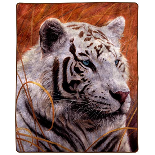 (Bedford Home 8 Lb Throw Blanket - Oversized Woven Plush Sofa or Soft Comfort Bed Decor - Printed Wildlife Design for Kids and Adults (White Tiger))