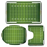 3 Piece Bath Mat Rug Set,Football,Bathroom Non-Slip Floor Mat,Sports-Field-in-Green-Gridiron-Yard-Competitive-Games-College-Teamwork-Superbowl,Pedestal Rug + Lid Toilet Cover + Bath Mat,Green-White