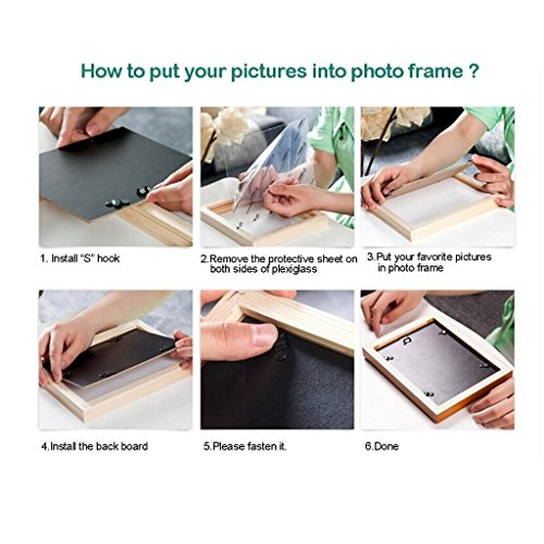 3 Frame Black And White Photo Frame Wood Color Triple Living Room Sofa Restaurant 16 Inch 33 44cm ( Color : Black ) by Boyang (Image #6)