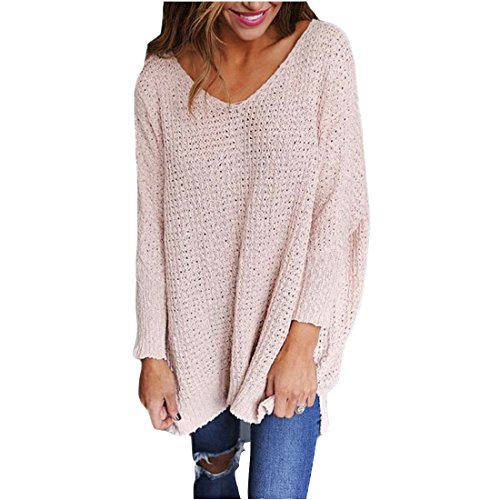 04273802d3 Feiyoung Women s Long Sleeve Knitted Sweater Top Jumper Pullovers